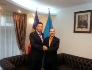 H.E.Ambassador Batrashev Daulet and President Anton Caragea